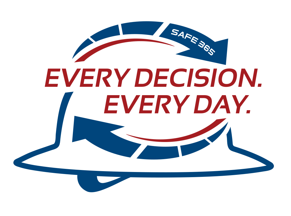 Hard hat icon with the words Safe 365: Every Decision. Every Day.