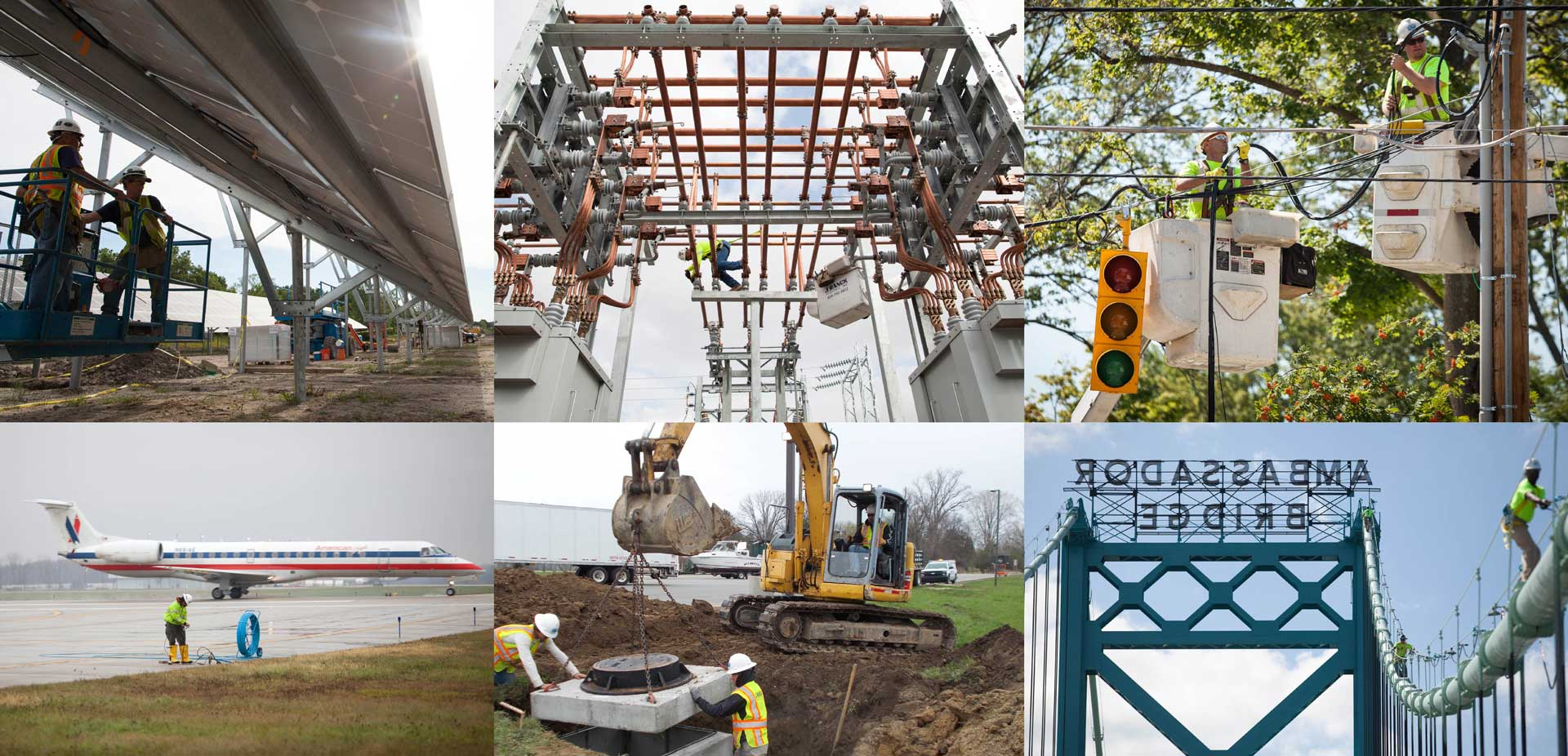 Six photo collage of different types of construction projects, Explore careers like these at Skilled Trades Night