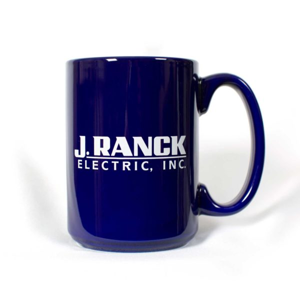 Blue coffee mug with J. Ranck Electric logo