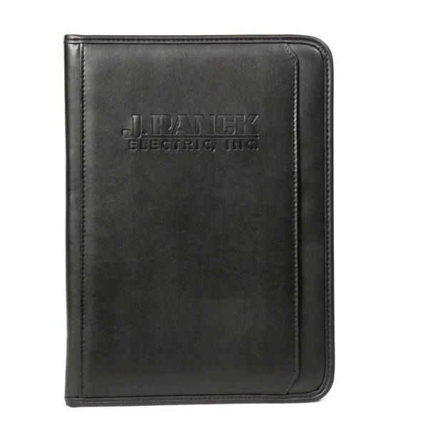 Black leather-like notebook padfolio with J. Ranck Electric logo